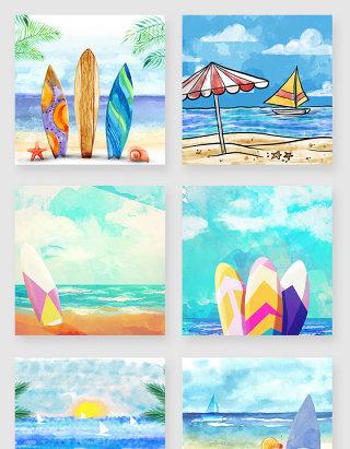 水彩手绘水墨海边风景美景插画素材