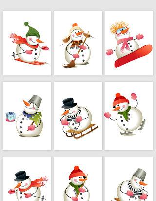 卡通雪人滑雪运动