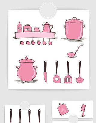 矢量手绘粉色厨房用
