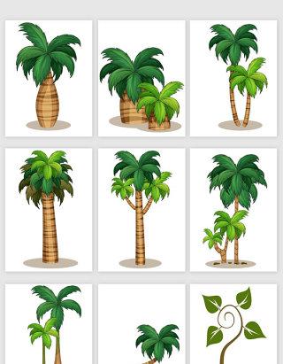 手绘风格热带树木矢量元素