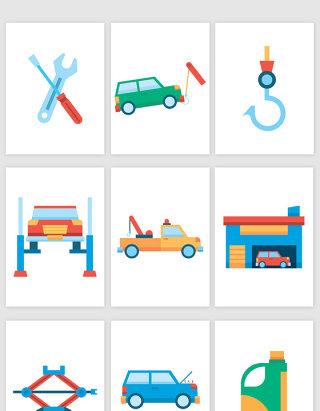 彩色汽车修理站拖车卡通插画矢量图形