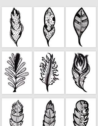 手绘线描的羽毛矢量素材