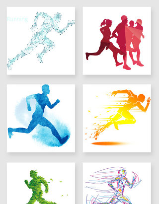 跑步的人剪影元素