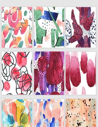 水彩涂鸦图案印花