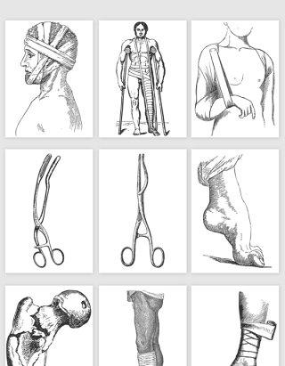手绘人体医学医疗骨折矢量素材