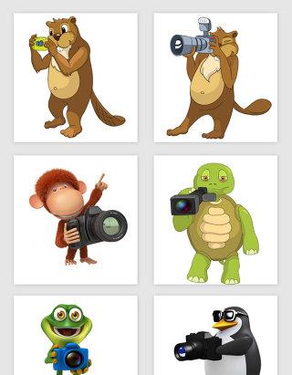 卡通可爱拿相机的动物PNG免抠素材