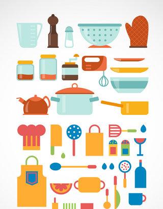 厨房用品扁平矢量元素