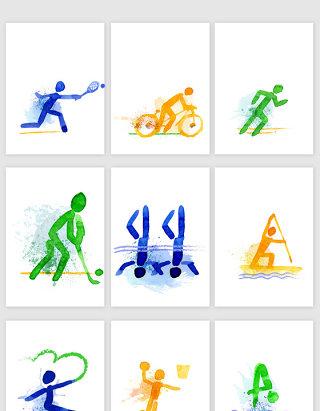 水彩冬奥会运动素材