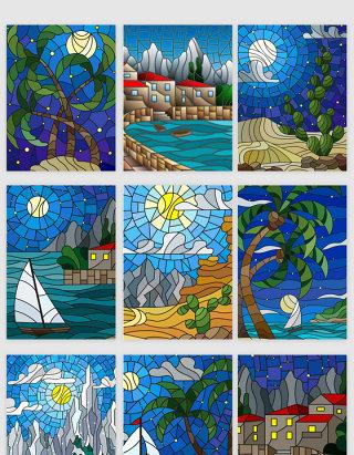 山水风景彩色玻璃效果矢量插画素材