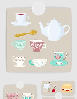 矢量手绘卡通下午茶茶碗茶壶