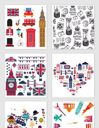 不规则图形英国旅游装饰素材
