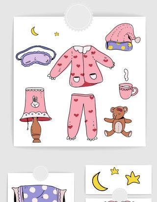 矢量手绘卡通女孩睡衣卧室用品