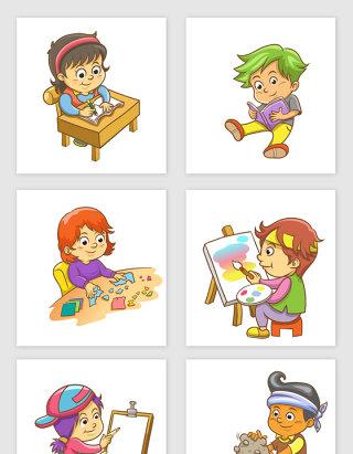 卡通孩子上课矢量素材