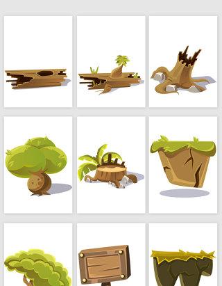 卡通风格树树干矢量元素