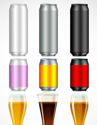 啤酒饮料瓶模型矢量图形