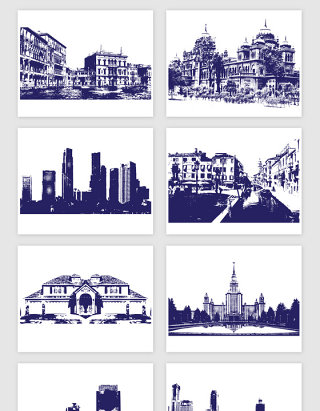 线描现代城市建筑矢量素材