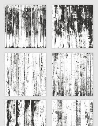 矢量黑色木纹木板剪影