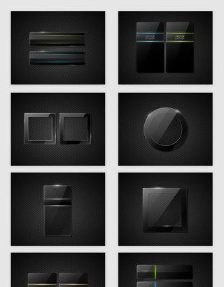 矢量黑色玻璃质感边框