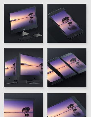 苹果电脑手机电子设备智能贴图样机素材