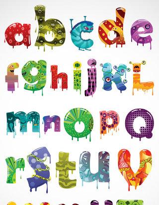 糖果字母矢量图标图形