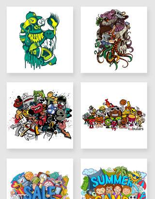 水彩涂鸦卡通设计素材
