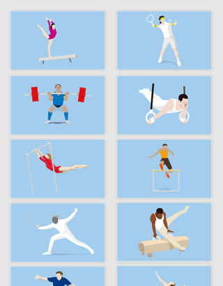矢量手绘奥运体育项目