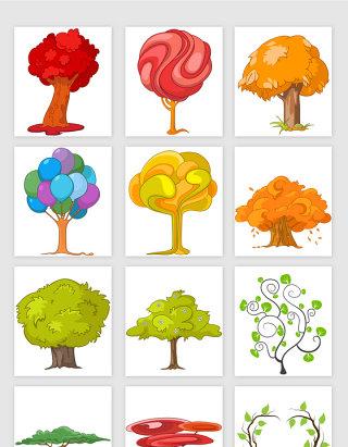 手绘卡通风格大树矢量素材