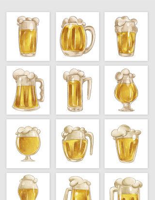 水彩装满黄色啤酒的杯子矢量素材