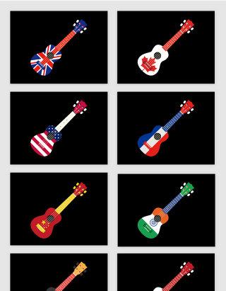 八国国家国旗图案电吉他矢量图形
