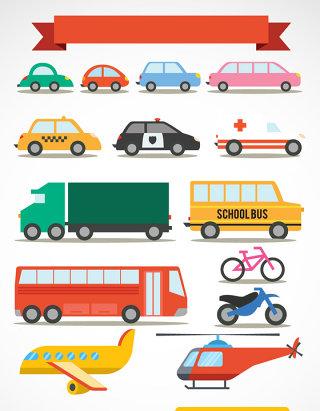 彩色矢量交通工具图标素材