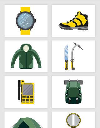 卡通露营手表冲锋衣背包帐篷指南针矢量图形
