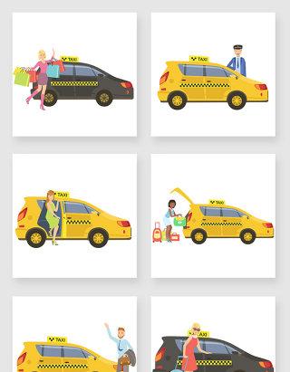 手绘卡通出租车行业图标矢量素材
