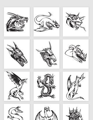 矢量手绘线描龙纹身图案素材