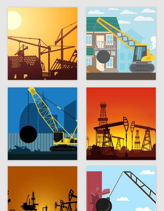 卡通建筑施工场景矢量素材