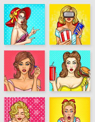 欧美时尚波普风格美女人物海报素材