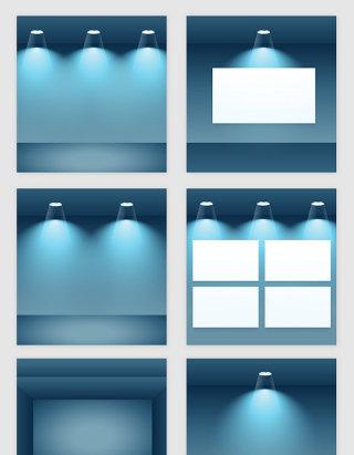 蓝色色空房子灯光模型矢量素材