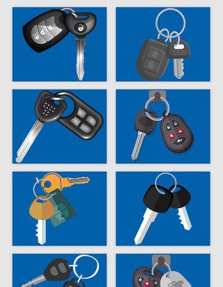 遥控汽车钥匙主题矢量素材