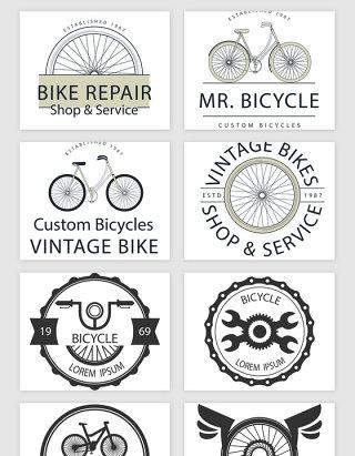 手绘自行车相关矢量素材