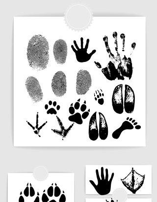人物手印指纹动物脚印矢量素材