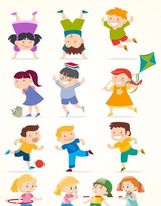 卡通儿童运动人物素材
