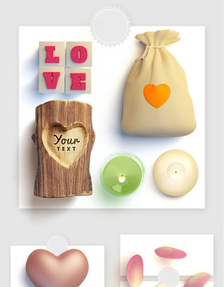 爱情信物蜡烛玫瑰花瓣荷包实物图形