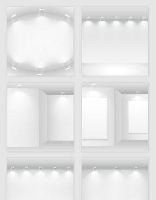 白色的空房子灯光模型矢量素材