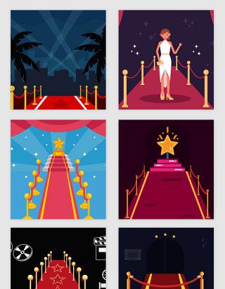 亮丽红毯明星矢量素材
