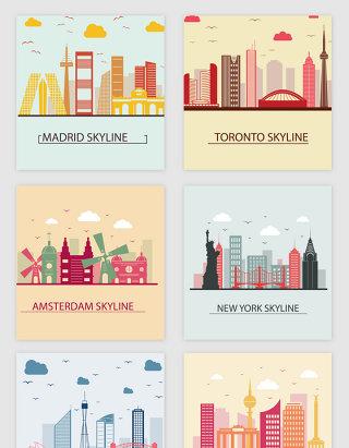 梦幻旅游城市建筑剪影矢量素材