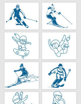 手绘冬奥会体育雪上运动矢量素材