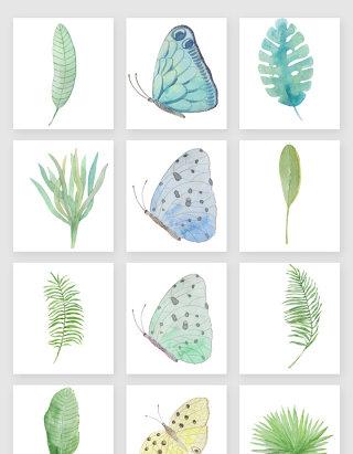 清新植物与蝴蝶矢量素材