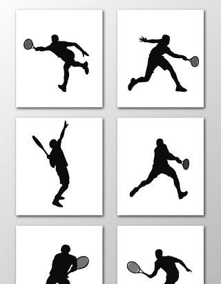 打网球人物动作投影效果素材
