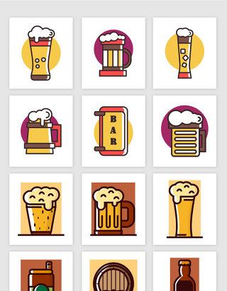矢量卡通酒吧啤酒