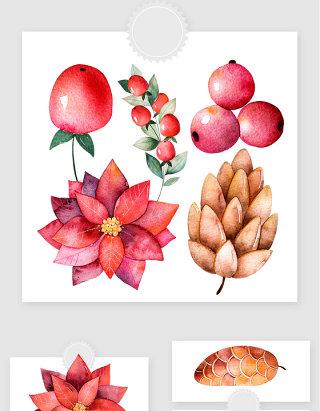 水彩手绘红色植物果实叶子png素材