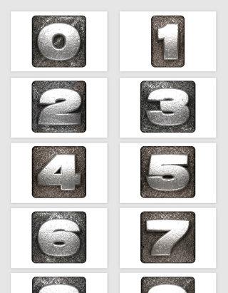 矢量立体金属渐变数字